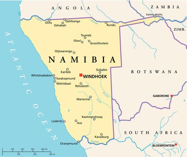 Imagem mostra mapa da localização da Namíbia